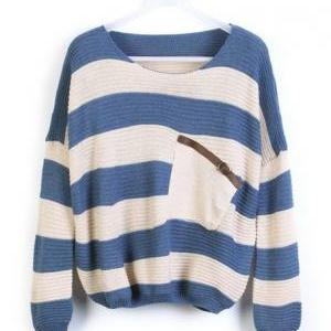 Loose Blue Striped Sweater With Poc..