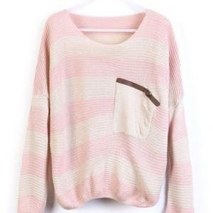 Loose Pink Striped Sweater With Poc..
