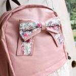 Pink Lace Backpack With Knot