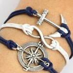Sliver Anchor Compass Bracelet