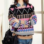Pink Loose Geometric Patterns Sweat..