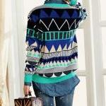 Blue Loose Geometric Patterns Sweat..