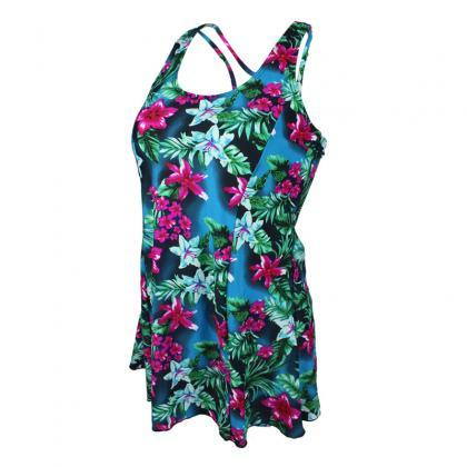 Retro Floral Print Plus Size Slim S..