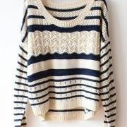 Beige Loose Stripe Sweater