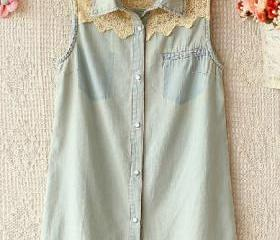Sleeveless Denim Shi..