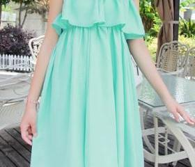 Mint Green Ruffles D..