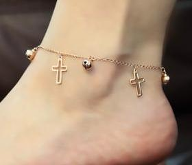 Hollow Cross Anklet ..