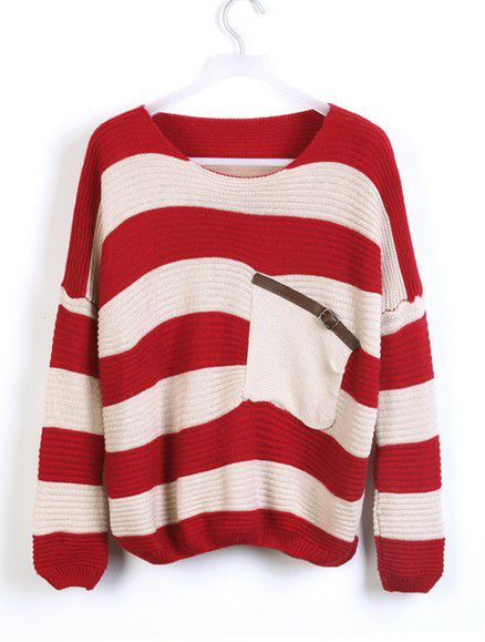 Loose Red Striped Sweater With Pocket
