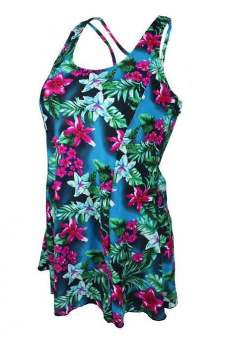 Retro Floral Print Plus Size Slim Swimsuit With Chest Pad
