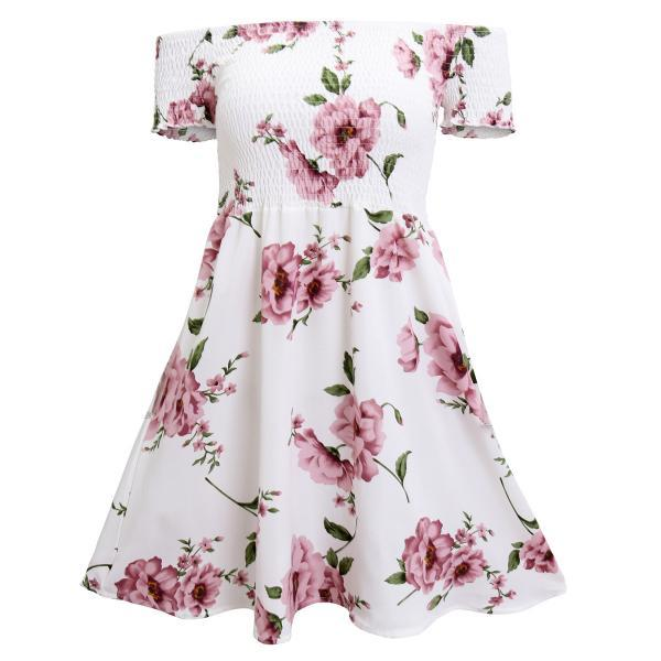 Off The Shoulder Floral Printed Dress
