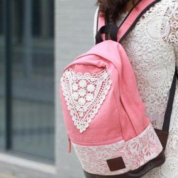 Pink Canvas Lace Backpack