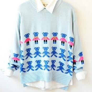 Cute Blue Bear Print Sweater