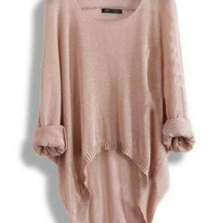 Khaki Loose Batwing Sleeve Irregular Sweater