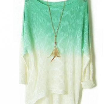 Green Color Gradient Batwing Sleeve Irregular Sweaters For Women