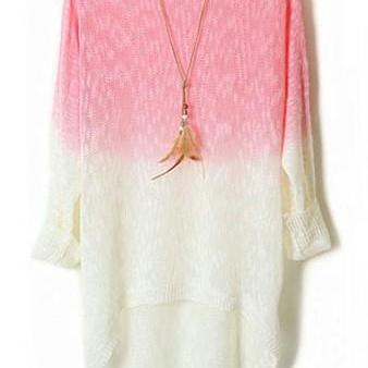Pink Color Gradient Batwing Sleeve Irregular Sweaters For Women