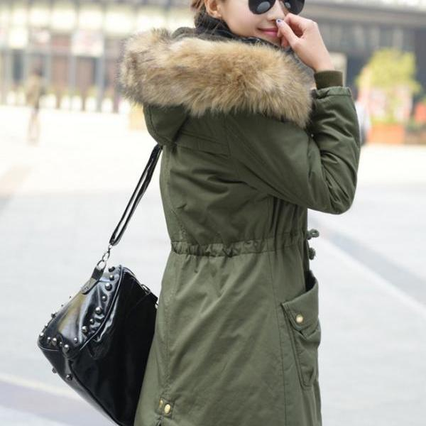 Womens Winter Coats Faux Fur Lining Parka With Fur Hood