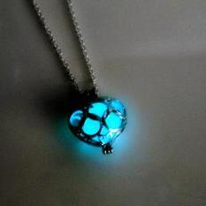 Glow In The Dark Hollow Heart Necklace