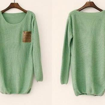 Mint Loose Sweater With Leather Packet