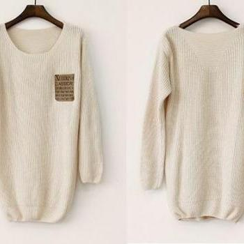 Beige Loose Leather Packet Sweater