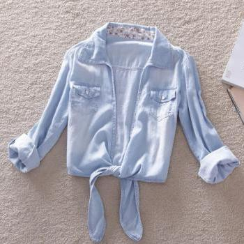 Light Blue Denim Blouse With Knot