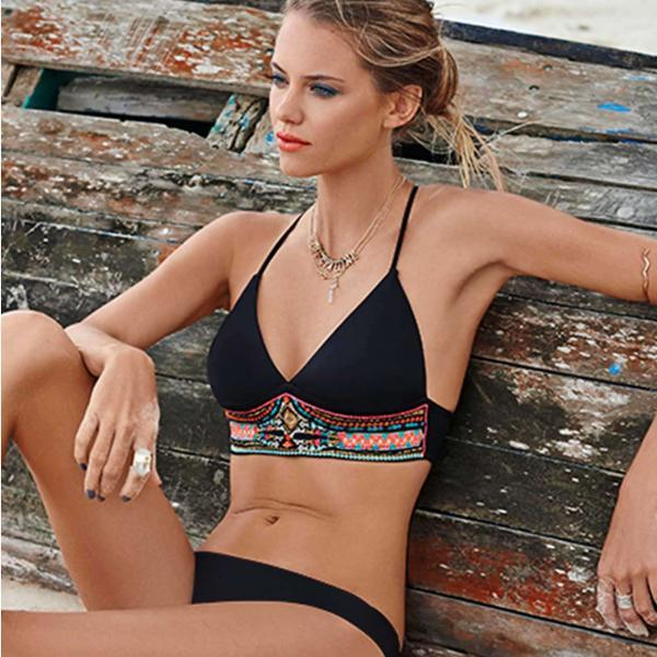 Fashion Floral Geometry Print Bikini